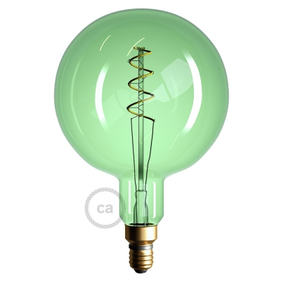XXL LED Emerald Light Bulb - Sphere G200 Curved Double Spiral Filament - 5W E27 Dimmable 2200K