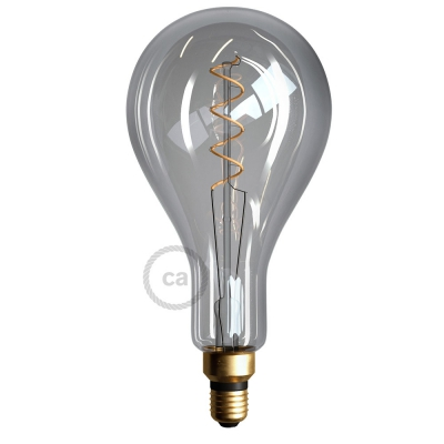XXL LED Smoky Light Bulb - Pear A165 Curved Double Spiral Filament - 5W E27 Dimmable 2000K