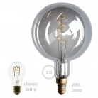 XXL LED Smoky Light Bulb - Sphere G200 Curved Double Spiral Filament - 5W E27 Dimmable 2000K