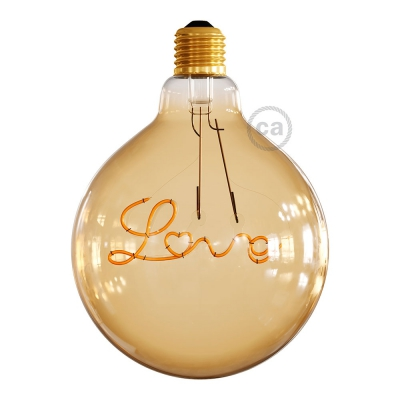 "LED Golden Light Bulb for pendant lamp - Globe G125 Single Filament ""Love"" - 5W E27 Decorative Vintage 2000K"