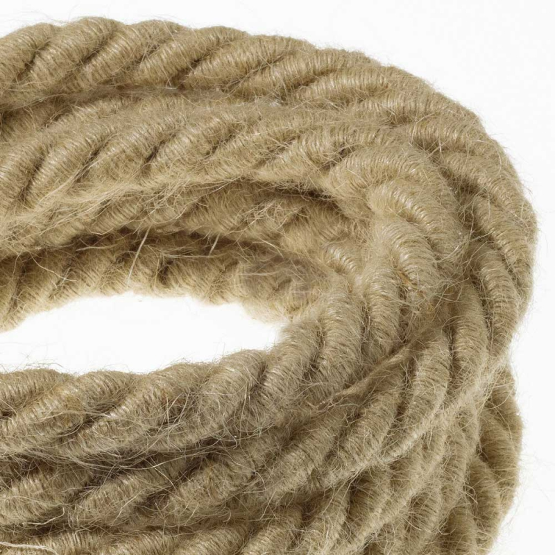 XL electrical cord, electrical cable 3x0,75. Rough jute fabric covering. Diameter 16mm.