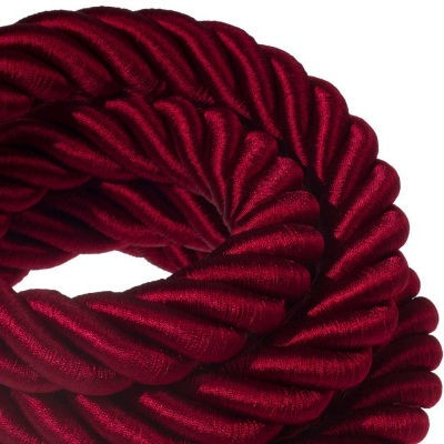 3XL electrical cord, electrical cable 3x0,75. Shiny dark bordeaux fabric covering. Diameter 30mm.