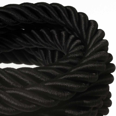 3XL electrical cord, electrical cable 3x0,75. Shiny black fabric covering. Diameter 30mm.