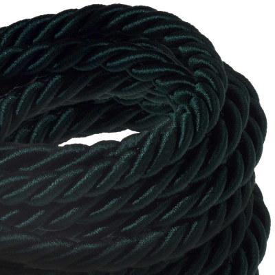 XL electrical cord, electrical cable 3x0,75. Shiny dark green fabric covering. Diameter 16mm.