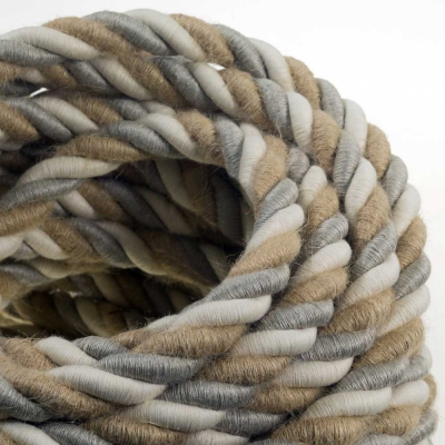 2XL electrical cord, electrical cable 3x0,75. Natural linen, cotton fabric and jute covering Country. Diameter 24mm.