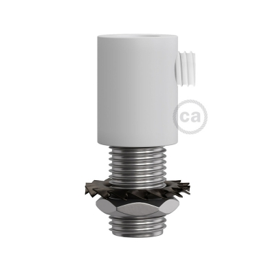 White finish metal round strain relief clamp provided with threaded tube, nut and washer.