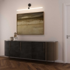 Architectural linear tube wall light with S14d Syntax socket & metal black bend extension pipe
