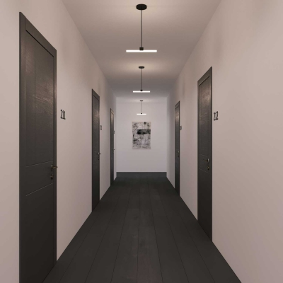 Architectural suspended linear tube ceiling light with S14d Syntax socket & 30 cm metal black extension pipe