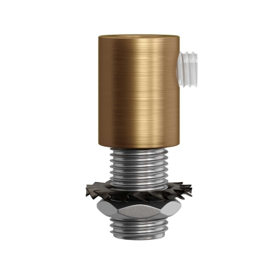 Brushed bronze metal round strain relief clamp provided with threaded tube, nut and washer.