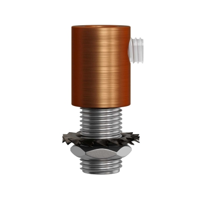 Brushed copper finish metal round strain relief clamp provided with threaded tube, nut and washer.