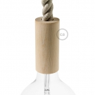 Wooden E27 lamp holder kit for 2XL cord