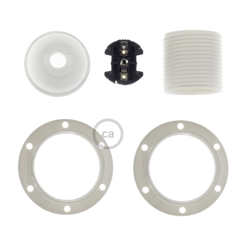 Thermoplastic E27 lamp holder kit for lampshade