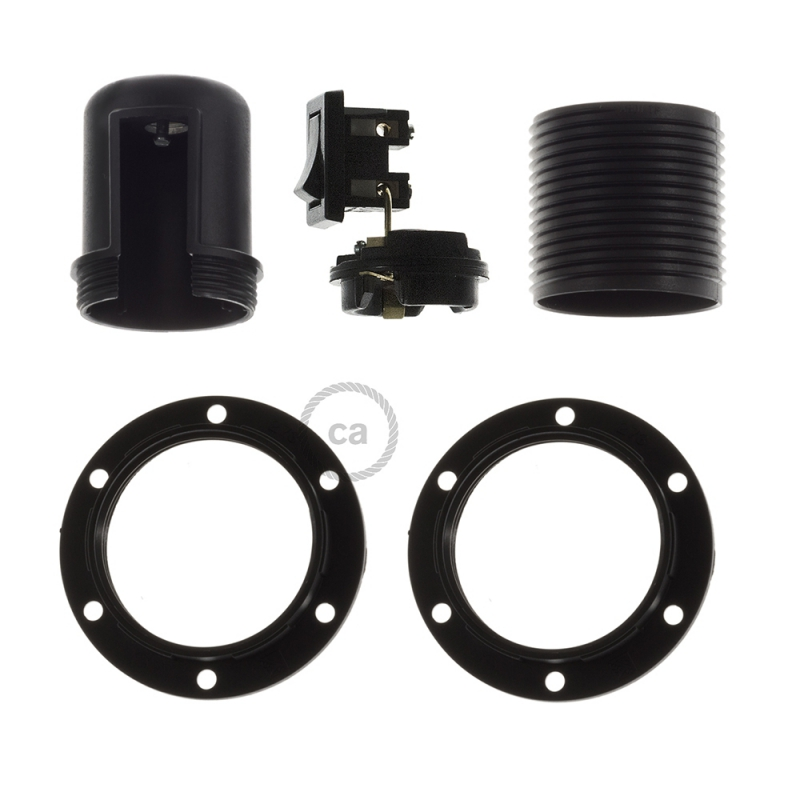 Thermoplastic E27 lamp holder kit for lampshade with switch