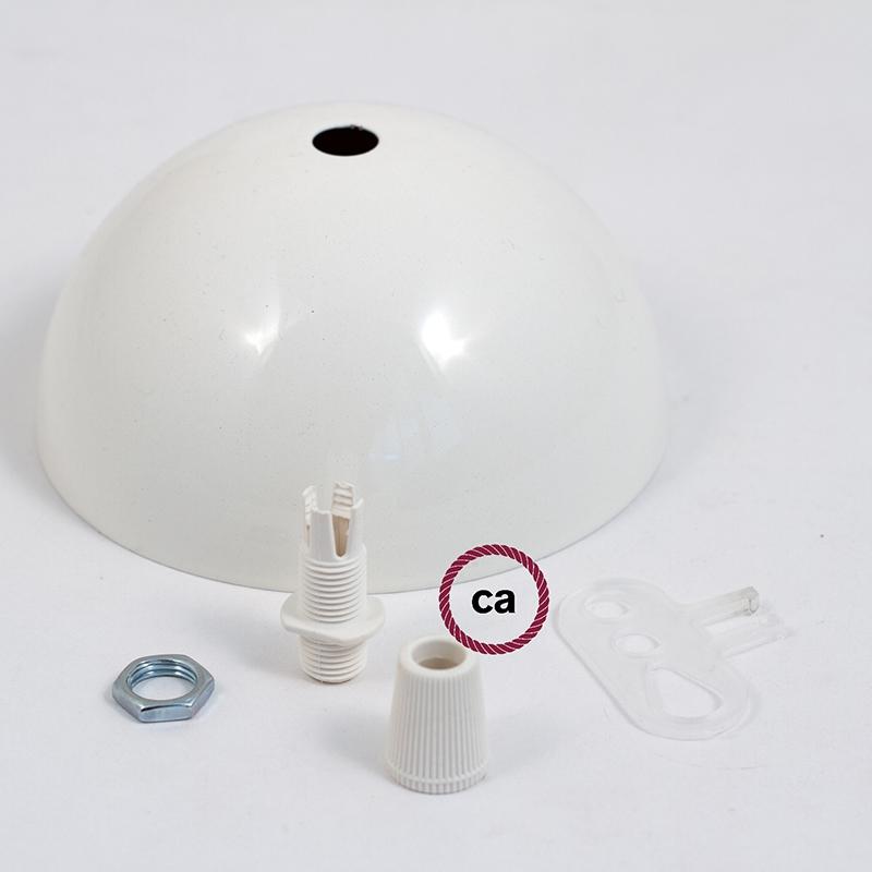 Half-sphere painted metal ceiling rose kit