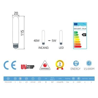Tubular LED Light bulb 5W E14 Clear Dimmable