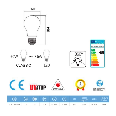 LED Milky White Light Bulb - Drop A60 - 7,5W E27 Dimmable 2700K