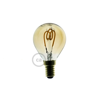 LED Golden Light Bulb - Sphere G45 Curved Spiral Filament - 3W E14 Dimmable 2000K