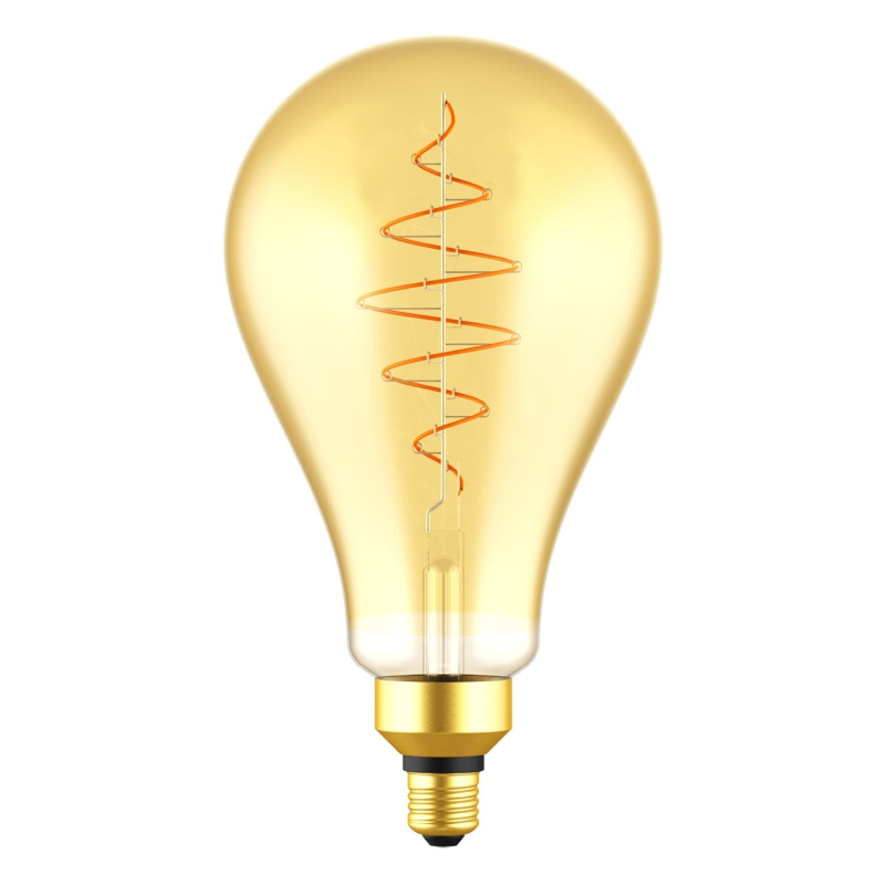 LED XL Bulb Pear A160 Golden Croissant Line with Spiral Filament 8.5W E27 Dimmable 2000K