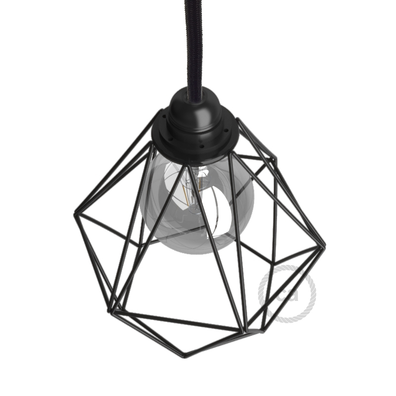 Naked light bulb cage metal lampshade Diamond with E27 fitting