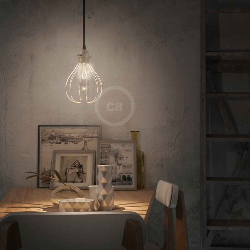 Naked light bulb cage metal lampshade Drop with adjustable collar closure