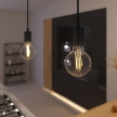 Pendant lamp with textile cable and monochrome metal details - Made in Italy