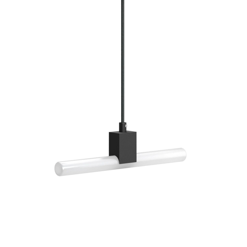 Pendant lamp with textile cable, S14d Syntax® lamp holder and metal details - Made in Italy