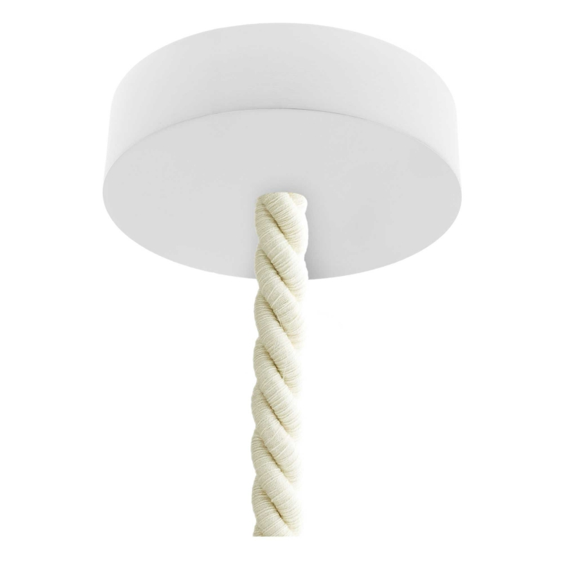 Pendant lamp with 2XL 24mm nautical cord painted wood details - Made in Italy