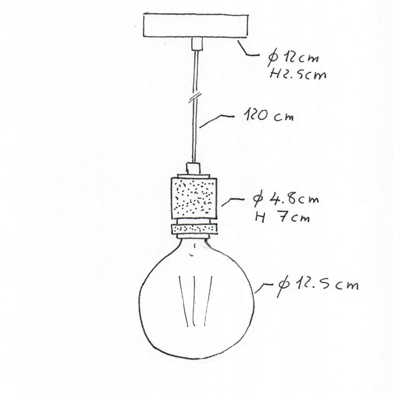 Pendant lamp with textile cable and milled aluminium lamp holder - Made in Italy