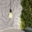 Pendant lamp with twisted textile cable and aluminium lamp holder - Made in Italy