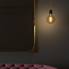 Pendant lamp with twisted textile cable and porcelain details - Made in Italy