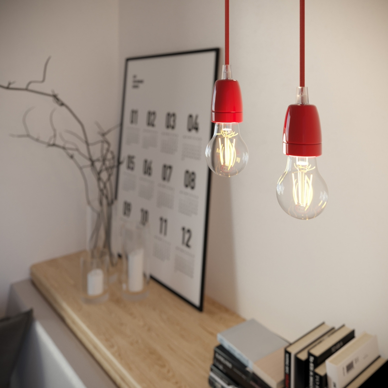Pendant lamp with textile cable and coloured porcelain details - Made in Italy