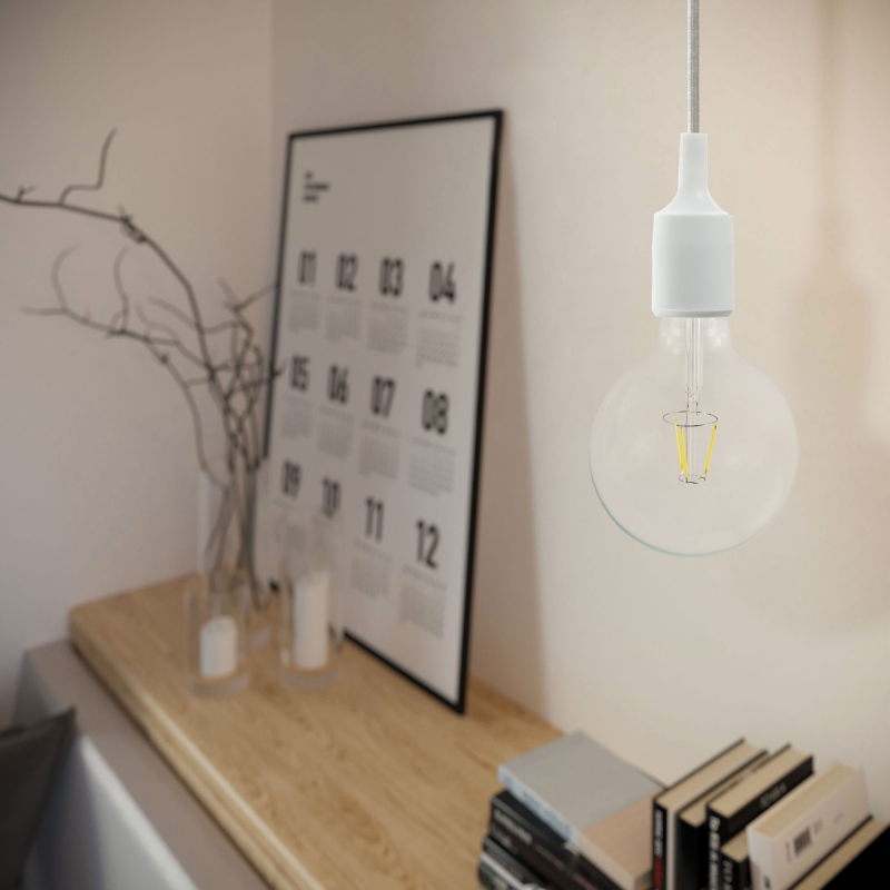 Pendant lamp with textile cable and silicone details - Made in Italy