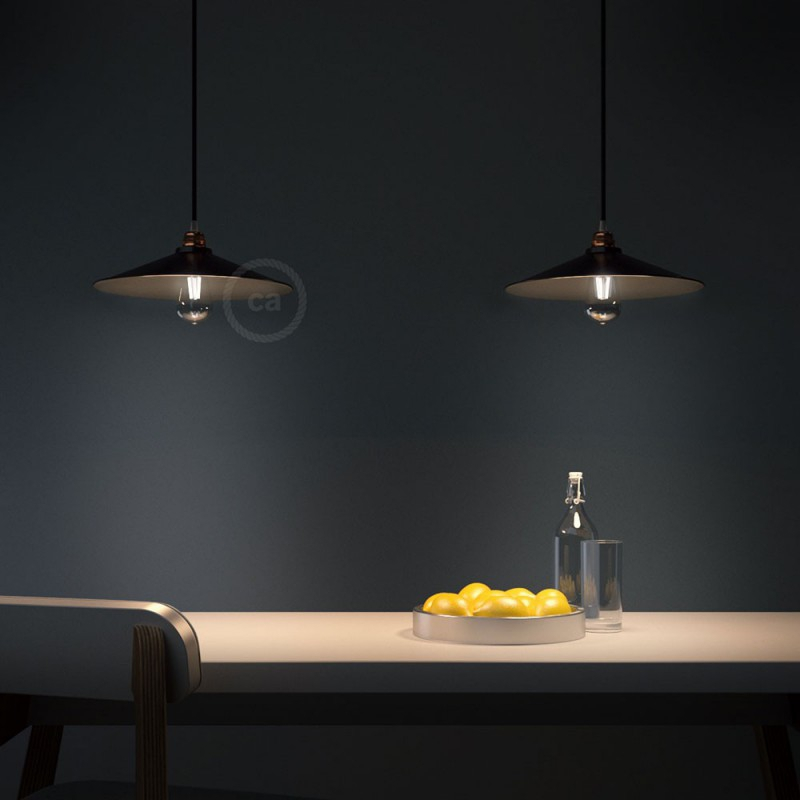 Pendant lamp with textile cable, Swing lampshade and metal details - Made in Italy