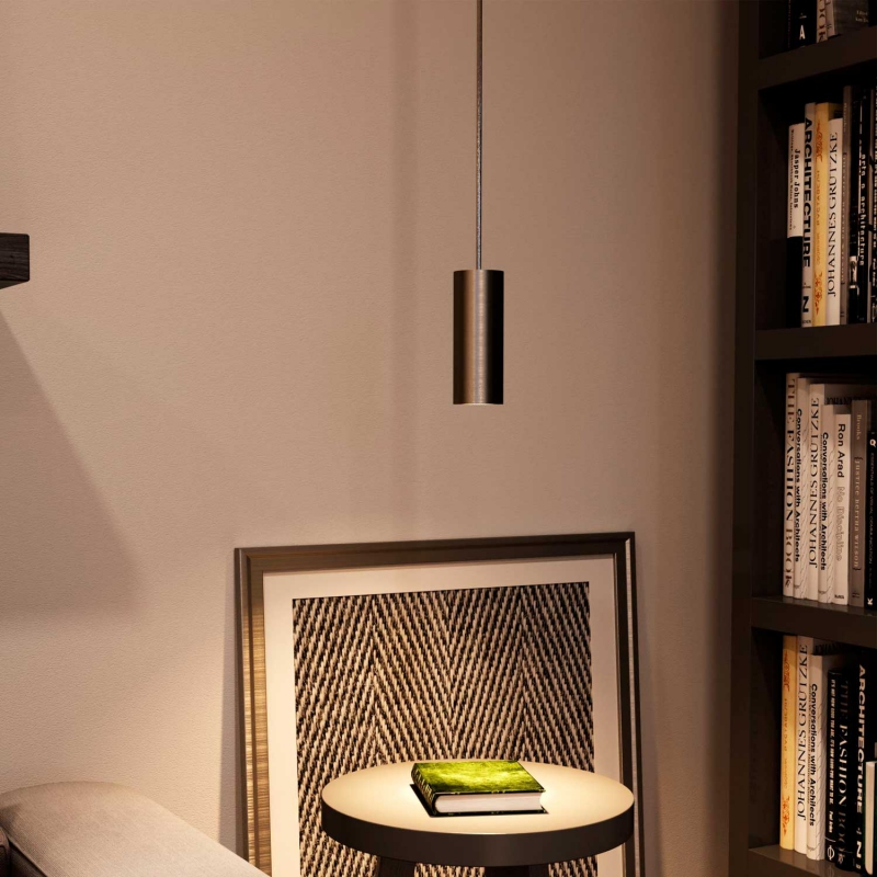 Pendant lamp with textile cable, Tub-E14 lampshade and metal details - Made in Italy