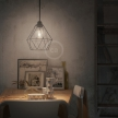 Pendant lamp with textile cable, Diamond cage lampshade and metal details - Made in Italy