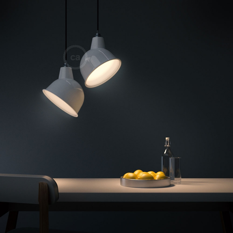 Pendant lamp with textile cable, Broadway lampshade and metal details - Made in Italy