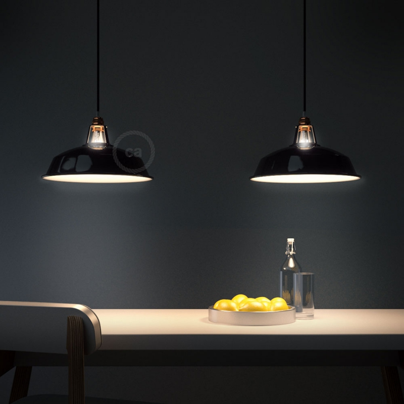 Pendant lamp with textile cable, Harbour lampshade and metal details - Made in Italy