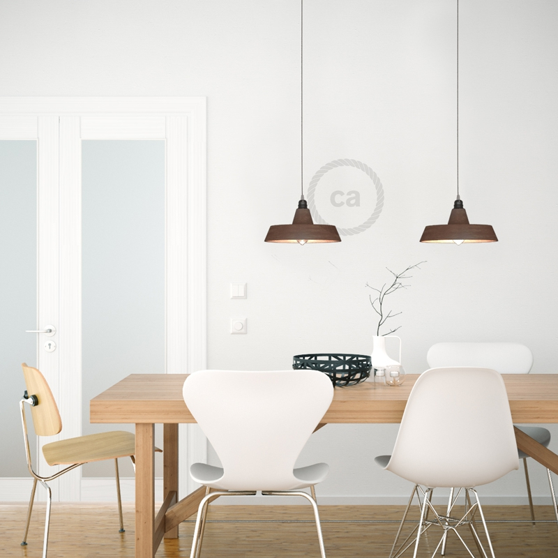 Pendant lamp with textile cable, Industrial ceramic lampshade and metal finishes - Made in Italy