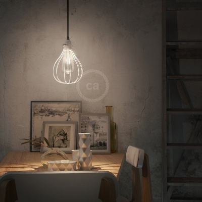 Pendant lamp with textile cable, Drop cage lampshade and metal details - Made in Italy