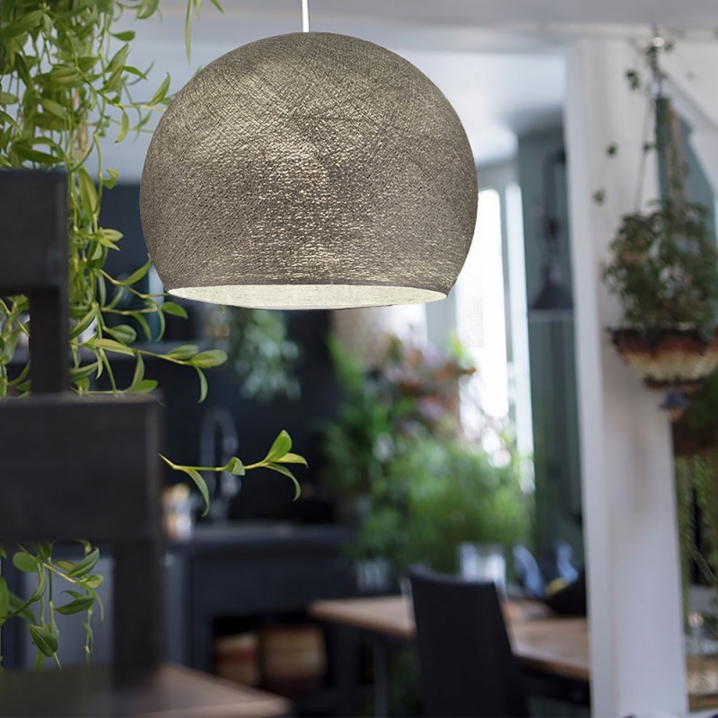 Pendant lamp with textile cable, Dome XS lampshade in polyester fiber and metal details