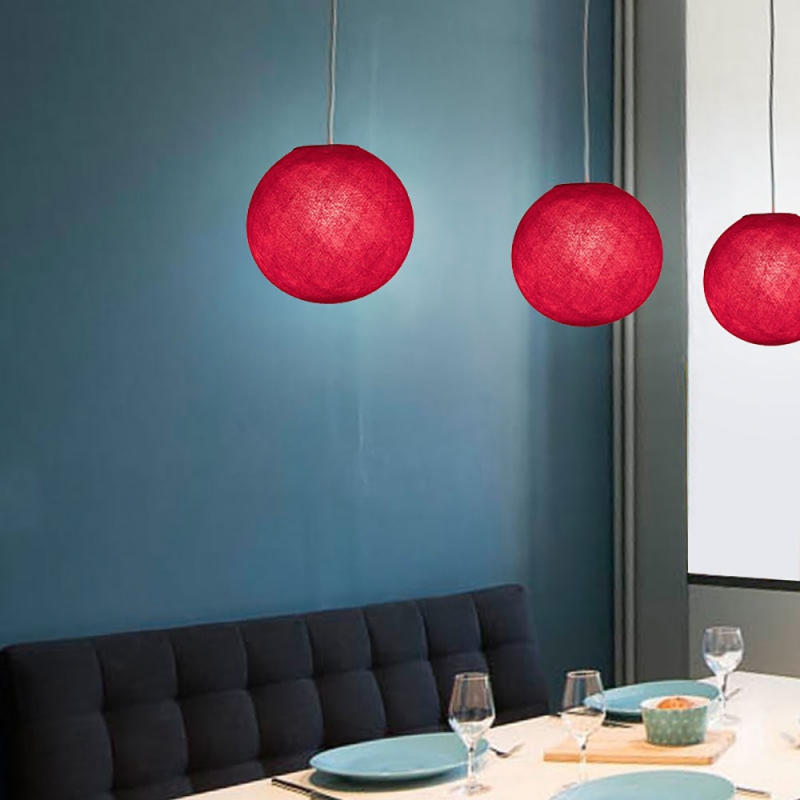 Pendant lamp with textile cable, Sphere XS lampshade in polyester fiber and metal details