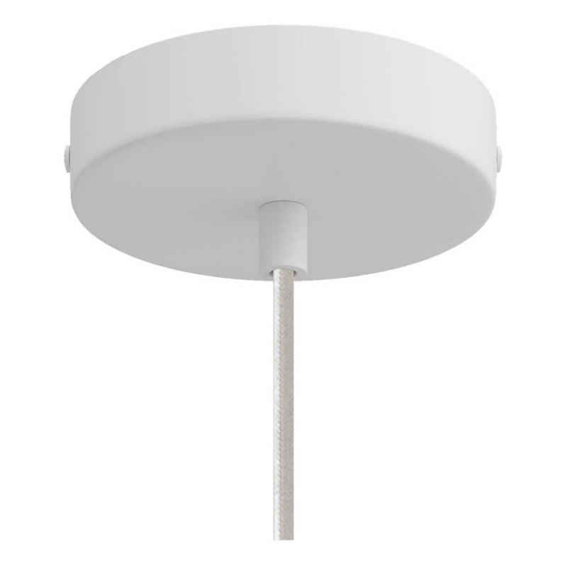 Pendant lamp with textile cable, Sphere M lampshade in polyester fiber and metal finishes