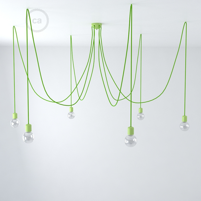 Made in Italy suspension with 6 pendants complete with fabric cable, and coloured ceramic finishes