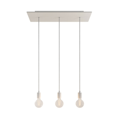 3-light pendant lamp with 675 mm rectangular XXL Rose-One, featuring fabric cable and metal finishes