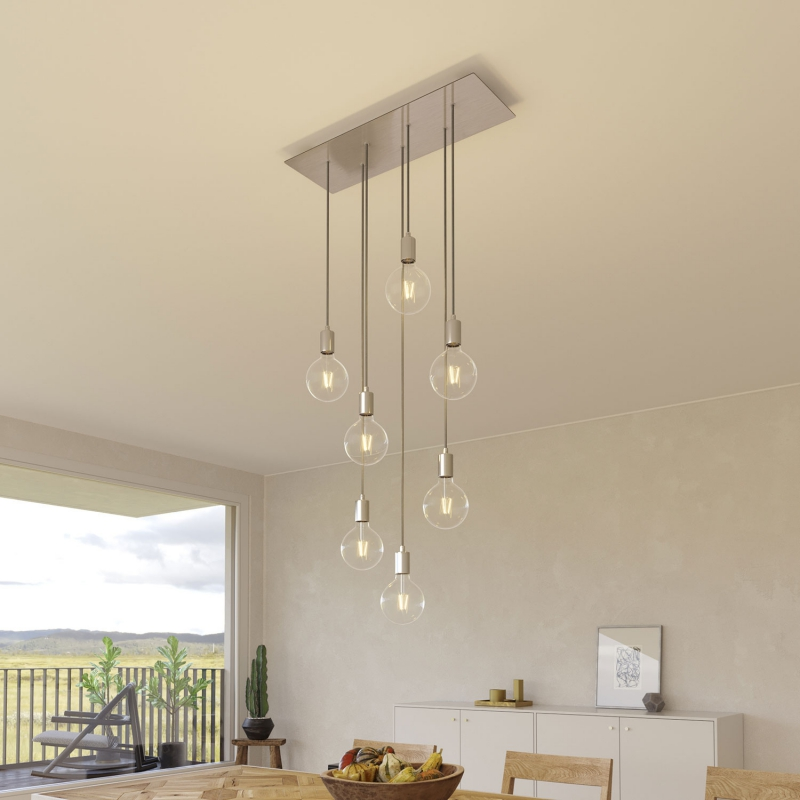 7-light pendant lamp with 675 mm rectangular XXL Rose-One, featuring fabric cable and metal finishes