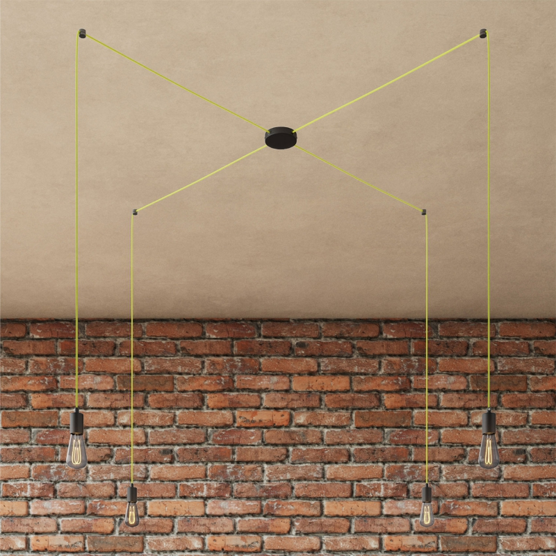 Spider - 4-light multi-pendant Made in Italy lamp featuring fabric cable and metal finishes
