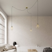 Spider - 3-light multi-pendant Made in Italy lamp featuring fabric cable and Drop lampshade