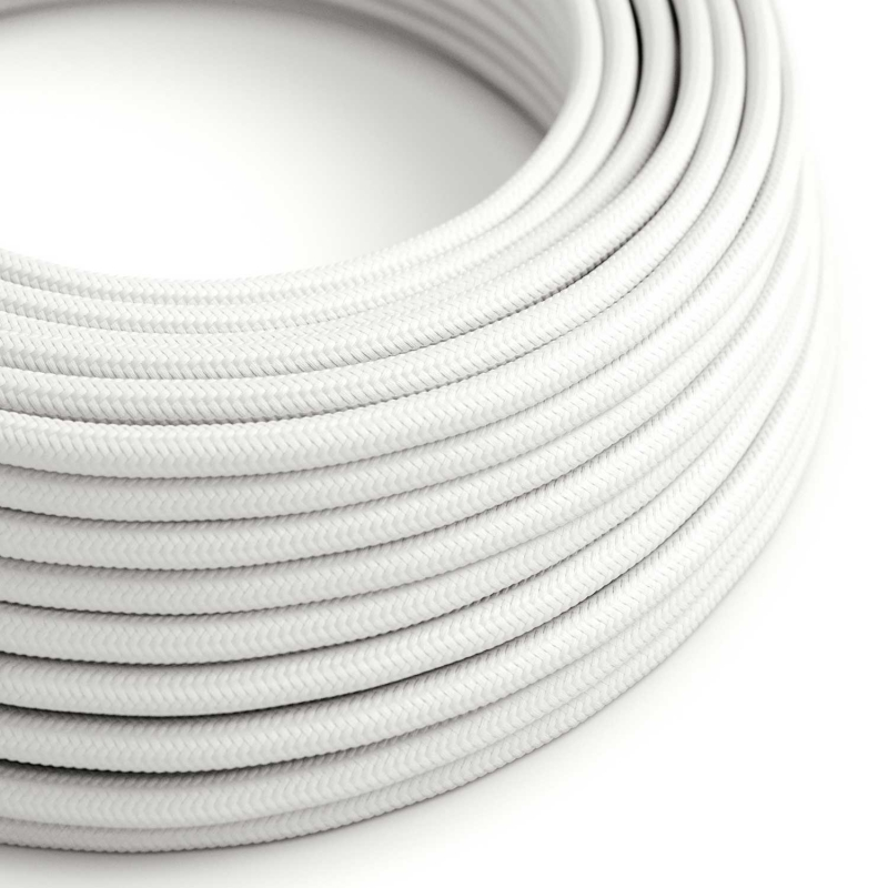 RM01 White Round Rayon Electrical Fabric Cloth Cord Cable
