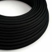 RM04 Black Round Rayon Electrical Fabric Cloth Cord Cable