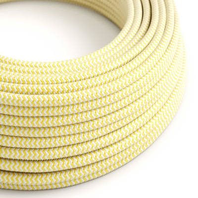 RZ10 Yellow ZigZag Round Rayon Electrical Fabric Cloth Cord Cable